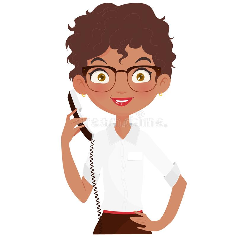 young-african-american-personal-secretary-answering-phone-call-wearing-white-shirt-brown-skirt-happy-receptionist-holding-138443903